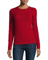 Neiman Marcus Cashmere Basic Pullover Sweater Red