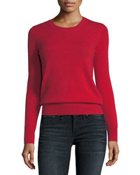 Neiman Marcus Cashmere Collection Classic Cashmere Crewneck Sweater Plus Size
