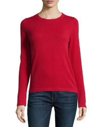 Neiman Marcus Cashmere Long Sleeve Pullover Sweater Red