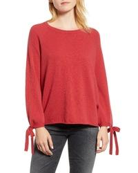 Velvet by Graham & Spencer Cashmere Tie Sleeve Sweater