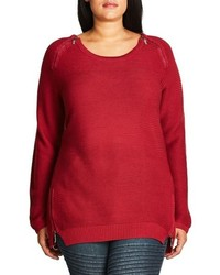 City Chic Plus Size Zip Detail Crewneck Sweater