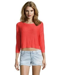 RD Style Flame Red Knit Scoop Neck Drop Shoulder Sweater