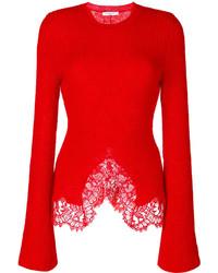 Lace trim knitted jumper medium 6465240