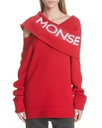 Monse Logo Off The Shoulder Wool Blend Sweater