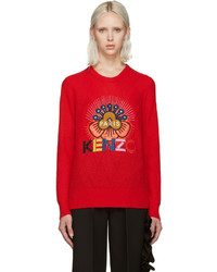 Kenzo Red Embellished Logo Sweater