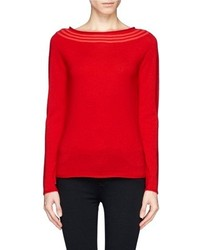 Nobrand Ribbed Boat Neck Virgin Wool Sweater