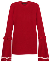 Mother of Pearl Rubi Ruffled Wool Blend Sweater Red