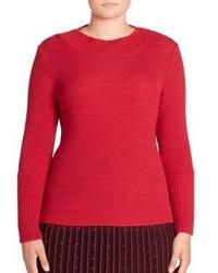 Stizzoli Plus Size Rib Knit Crewneck Sweater