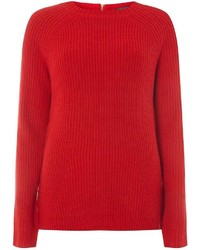Dorothy Perkins Tall Zip Back Crew Jumper Red