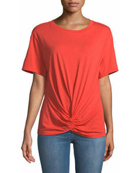 7 For All Mankind Crewneck Short Sleeve Knotted Front Cotton Tee
