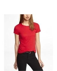 Express Slub Knit Boyfriend Tee Red Large