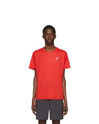 Asics Red And Silver Logo T Shirt