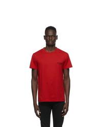 Balmain Red Round Neck T Shirt