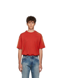 Martine Rose Red Sunbleach Double T Shirt