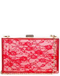 Dailylook lace print lucite box clutch in red medium 132829