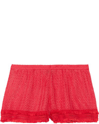 Missoni Mare Fringed Crochet Knit Shorts Red