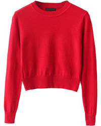 Choies Red Long Sleeve Cropped Knit Sweater