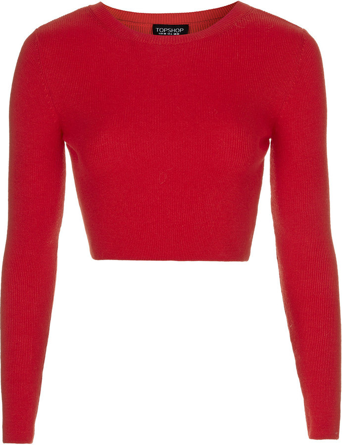 dbc79833a0094b ... Topshop Long Sleeved Ribbed Crop Top 88% Viscose 12% Wool Machine  Washable
