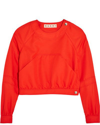 Marni Cropped Twill Top Red