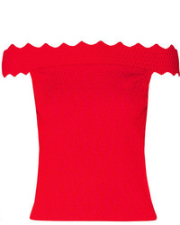 JONATHAN SIMKHAI Off The Shoulder Cropped Textured Stretch Knit Top X Small