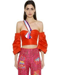 Peter Pilotto Off The Shoulder Shiny Taffeta Crop Top
