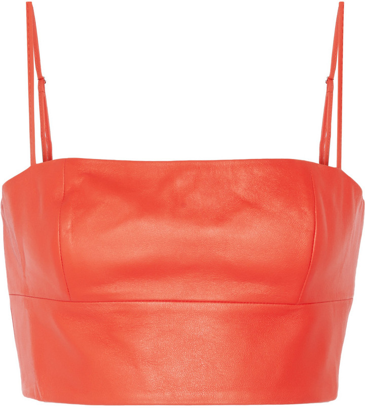 5b7928297f ... Red Cropped Tops Alexander Wang T By Leather Bralet ...