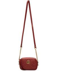 Gucci Red Mini Gg Marmont 20 Camera Bag