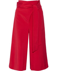 Cropped stretch faille wide leg pants red medium 954222