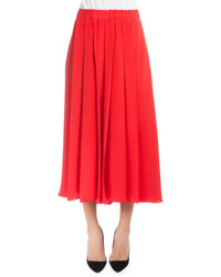 Victoria Beckham Elastic Waist Pleated Culottes Red
