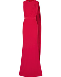 Alexander McQueen Draped Cutout Crepe Gown Red