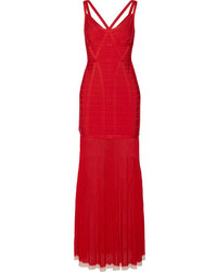 Herve Leger Herv Lger Zhenya Cutout Bandage Gown Red