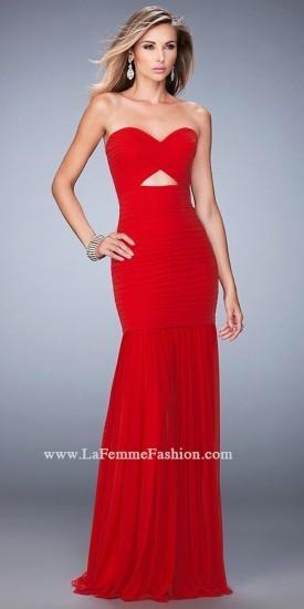 La Femme Ruched Triangle Cut Out Sheer Embellished Back Prom Dress ...