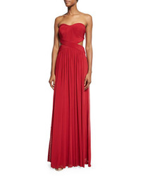 La Femme Strapless Pleated Cutout Gown Deep Red