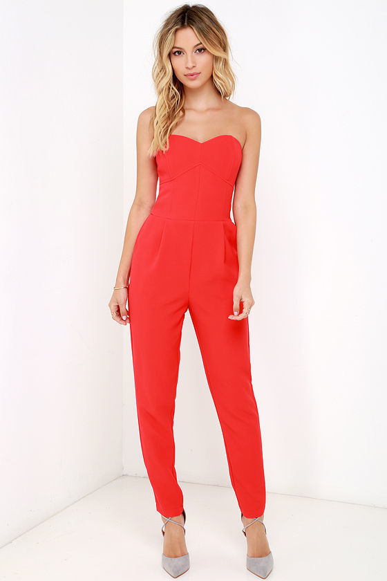 56e36898832 ... Red Cutout Jumpsuits Adelyn Rae Electric Boogaloo Black Strapless  Jumpsuit ...