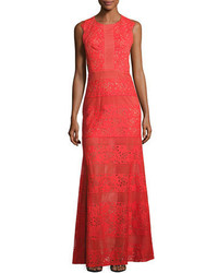 BCBGMAXAZRIA Merida Cutout Back Floral Lace Gown Bright Poppy