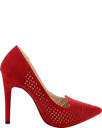 Wild Diva Gia 2 Pump Red Faux Suede Heels