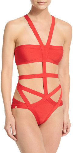09dffbaa54 Herve Leger Cutout Bandage One Piece Swimsuit Coral Poppy, $740 ...