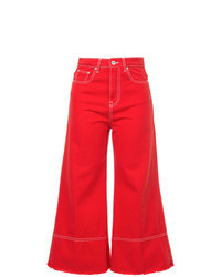Red Denim Culottes