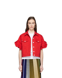 MSGM Red Cropped Sleeve Denim Jacket