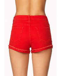 red high waisted jean shorts - Jean Yu Beauty