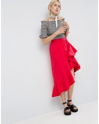 Asos Denim Flaco Skirt In Red