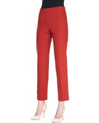 Carolina Herrera Cropped Stretch Wool Straight Leg Pants Brick Red