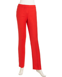 Lafayette 148 New York Flat Stretch Wool Pants Red
