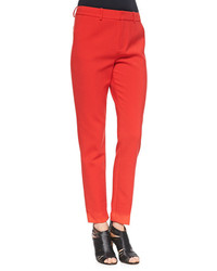 J Brand Ready To Wear Marianne Slim Flat Front Trousers Masai Red
