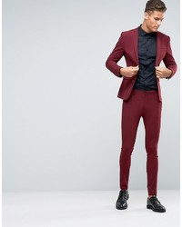 Asos Super Skinny Suit Pants In Dark Red | Where to buy & how to wear