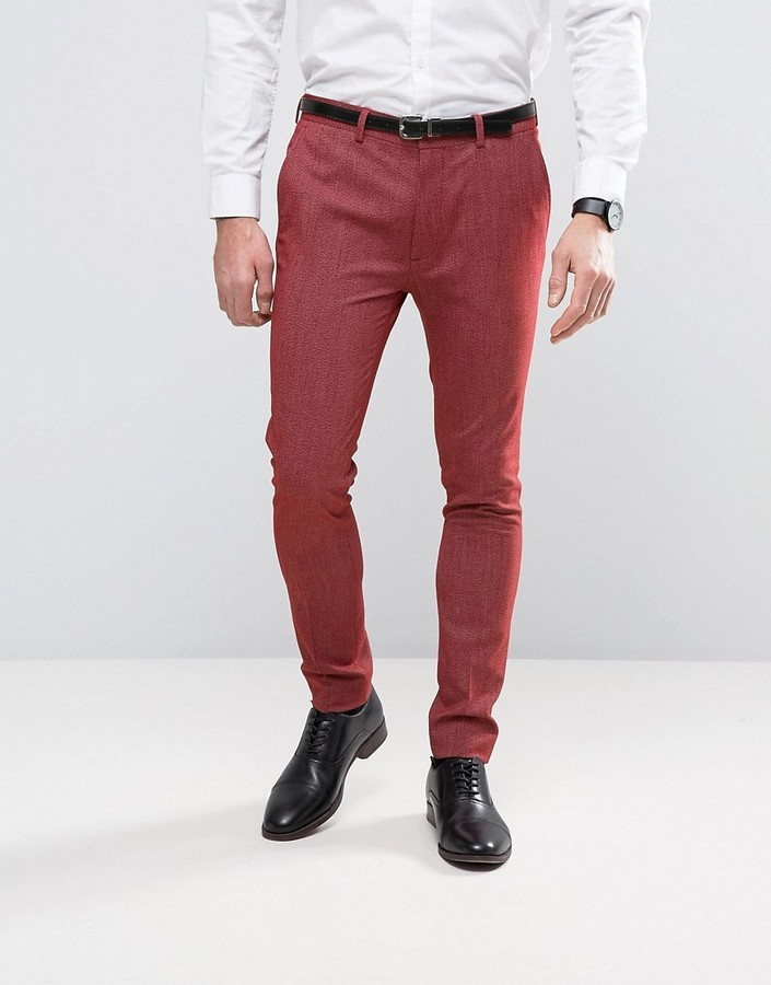 Asos Super Skinny Suit Pants In Red Twist | Where to buy & how to wear