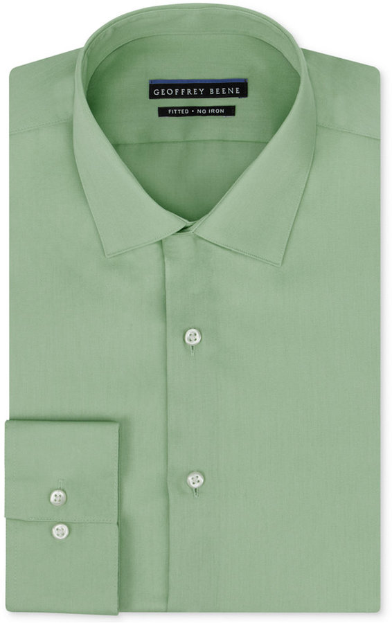 c3567ba6877 Geoffrey Beene Fitted No Iron Stretch Sateen Dress Shirt