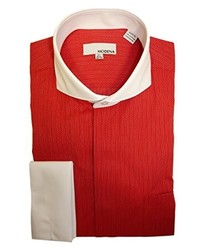 Modena Dress Shirts Modena Herringbone Cutaway Collar French Cuff Dress Shirt