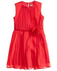 J.Crew Girls Rosette Dress In Crinkle Chiffon