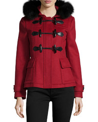 Burberry Brit Blackwell Short Wool Coat With Removable Fur Trim